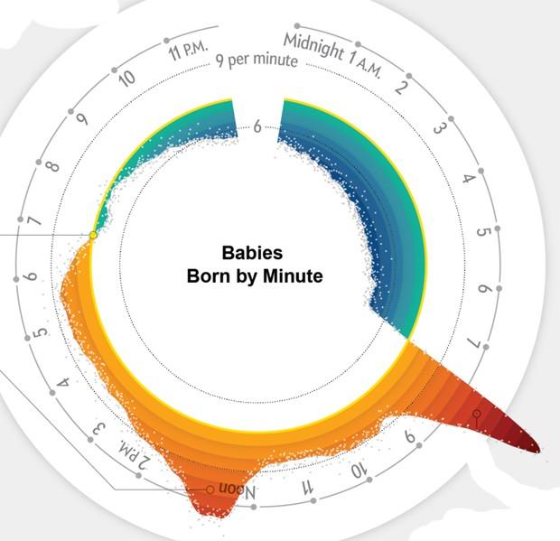 Gráfico criado por Zan Armstrong mostrando a quantidade de bebês nascidos por minuto. Nos EUA, a média é 7,3 recém nascidos por minuto (Foto: Zan Armstrong)