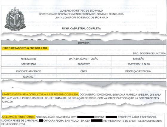 A ficha mostra a sociedade com o lobista José Amaro Pinto Ramos (Foto: Reprodução)