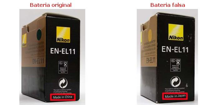 Comparação entre caixas verdadeira e falsa da EN-EL11 (Foto: Divulgação/Nikon)