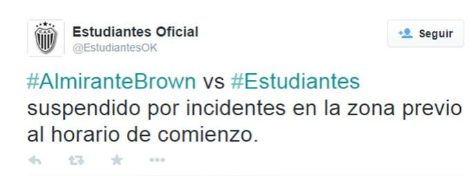 Twitter Almirante Brown vs Estudiantes Confusao (Foto: Reprodução / Twitter)