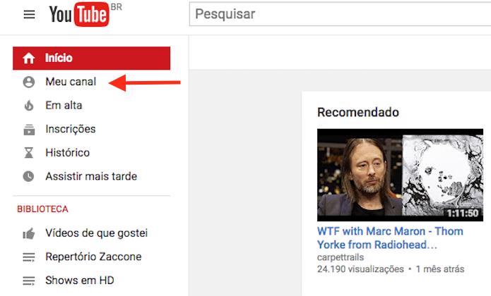 Acessando seu canal de usuário do YouTube (Foto: Reprodução/Marvin Costa)