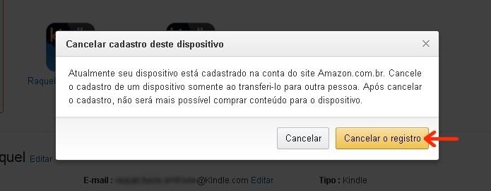 Caixa de confirmação de cancelamento do registro do Kindle (Foto: Reprodução/Raquel Freire)