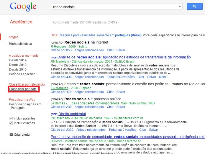 Classificação dos resultados do Google Acadêmicos por datas (Foto: Reprodução/Lívia Dâmaso)