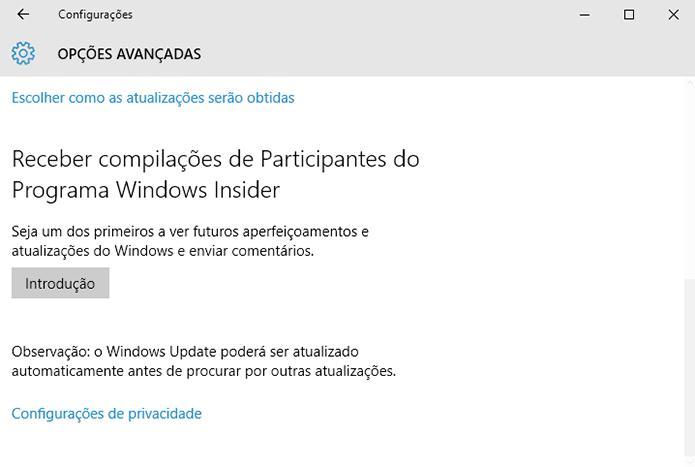 Para receber builds experimentais, basta habilitar nas configurações (Foto: Divulgação/Microsoft)