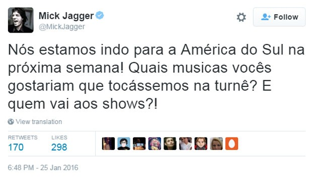 Mick Jagger pergunta o que faz querem ouvir nos show do Rolling Stones no Brasil (Foto: Reprodução/Twitter/@MickJagger)