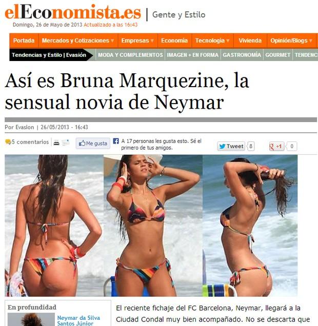 Bruna Marquezine em site estrangeiro (Foto: Reprodução / eleconomista.es)