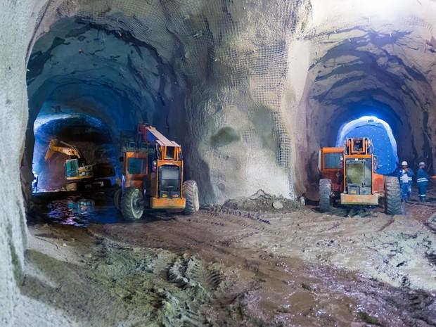 Escavações da Linha 4 do Metrô estão no trecho final entre Barra e Zona Sul (Foto: Divulgação Linha 4/Kaptimagem)
