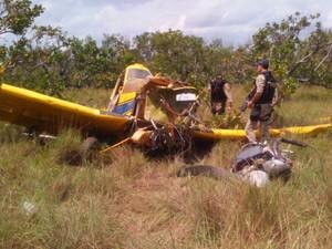 Aeronave ficou destruída após a queda (Foto: Arquivo Pessoal)