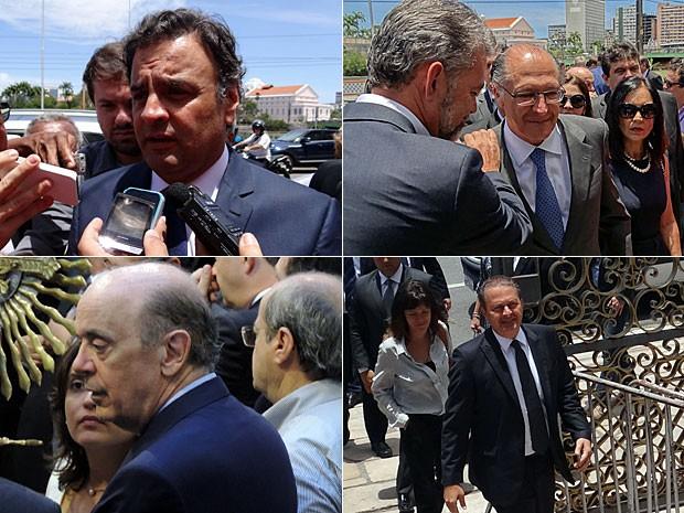 Lideranças políticas foram ao velório de Sérgio Guerra: Aécio Neves, Geraldo Alckmin, José Serra e Eduardo Campos (Foto: Katherine Coutinho e Renan Holanda / G1)