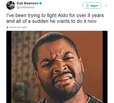 Cub Swanson brincou após declaração de Aldo (Foto: Reprodução/Twitter)