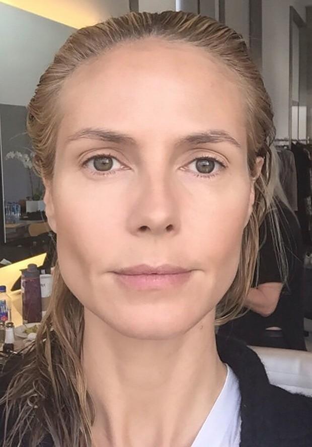 Heidi Klum sem maquiagem (Foto: Reprodução)