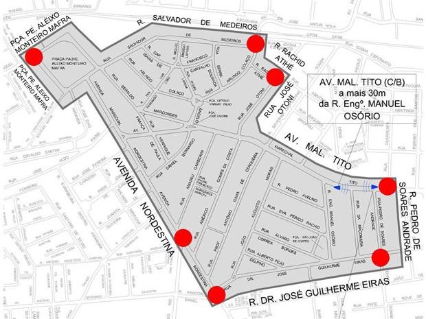 Área 40 do bairro de São Miguel Paulista, na Zona Leste, será implantada na próxima quarta-feira (16) (Foto: Divulgação/CET)