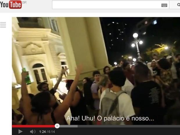 Reprodução do YouTube que mostra invasão do Palácio Guanabara (Foto: Reprodução/YouTube  )