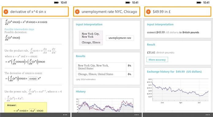 WolframAlpha é um buscador capaz de dar respostas exatas (Foto: Divulgação/Windows Phone Store)