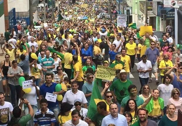 Do leitor Gustavo Passos: em São Carlos (SP), a manifestação deste domingo começou às 10h (Foto: Gustavo Passos)
