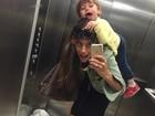 Joana Balaguer se diverte com bagunça do filho: 'Amo muito'