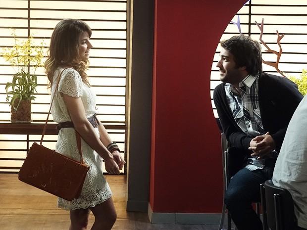 Manu encontra com Davi no restaurante do hotel (Foto: Geração Brasil/TV Globo)
