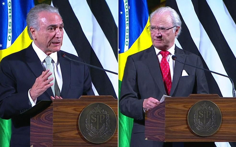 O presidente Michel Temer e o rei Gustav, da Suécia (Foto: TV Globo/Reprodução)