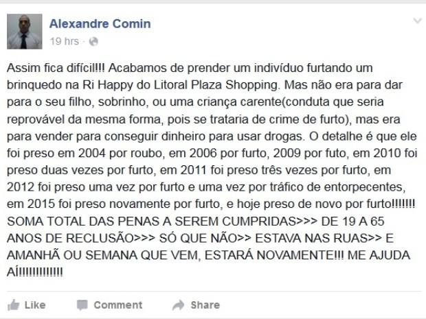 Delegado usou as redes sociais para desabafar após 12ª prisão de suspeito (Foto: Reprodução / Facebook)