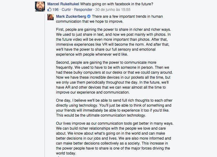 Zuckerberg aproveitou a pergunta para falar sobre sua visão para o Facebook (Foto: Reprodução/Paulo Alves)