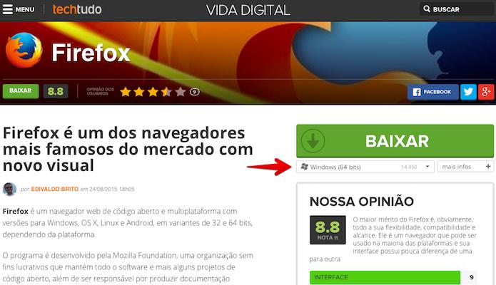 Baixando versão 64 bits do Firefox (Foto: Reprodução/Helito Bijora)