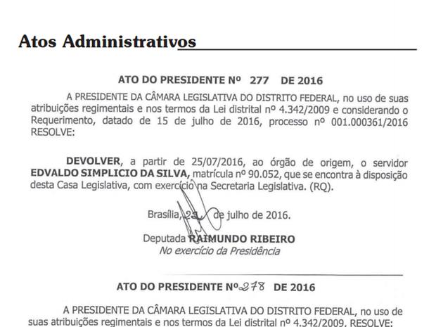 Ato assinado pelo presidente em exercício da Câmara Legislativa, deputado Raimundo Ribeiro (PPS), em que dispensa Edvaldo Simplício da Silva (Foto: Reprodução)