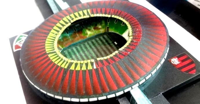 Mini estádios maquete Maracanã Flamengo e Fluminense (Foto: Reprodução)