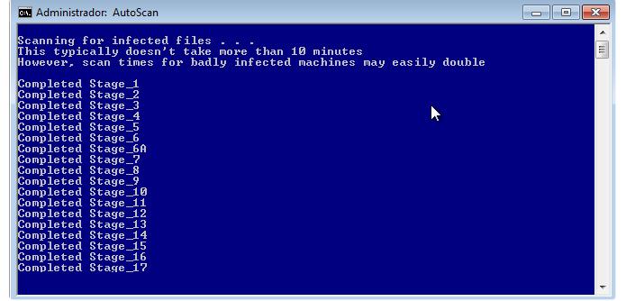 A interface do Combofix é simples, mostrando o progresso da varredura em uma tela azul (Foto: Reprodução/Paulo Alves)