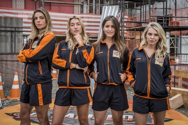 Daniella Cicarelli, Gabriela Pugliesi, Maria Joana e Louise D´Tuani no quadro Desafiados, do Caldeirão do Huck (Foto: João Cotta/Globo)
