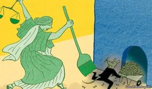 Ilustração da 'Economist' mostra deusa Têmis, que representa a Justiça, correndo atrás de rato, bicho associado à corrupção (Foto: Reprodução/'The Economist')