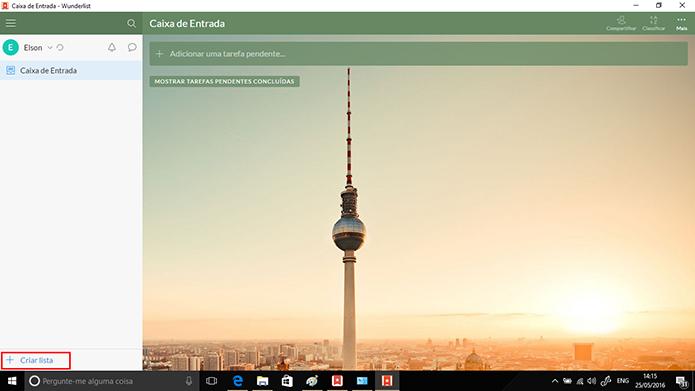 Usuário pode criar lista na tela inicial do Wunderlist no Windows (Foto: Reprodução/Elson de Souza)
