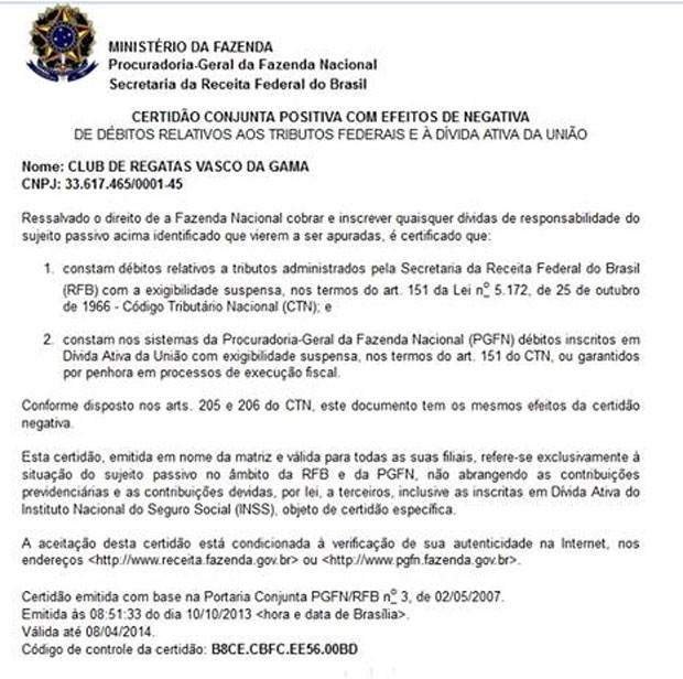 Reprodução Ministério da Fazenda Certidões negativas Vasco (Foto: Reprodução)