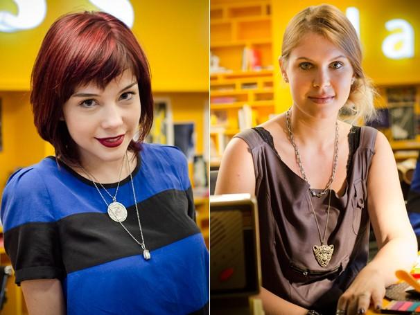 Julia (Carolinie Figueiredo, à dir.) trabalha na equipe de criação da Class Mídia, e Cléo (Bia Arantes) é estagiária na agência (Foto: Raphael Dias/Globo)
