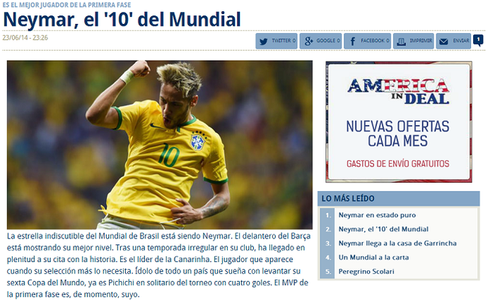 Marca Neymar (Foto: Reprodução Marca)