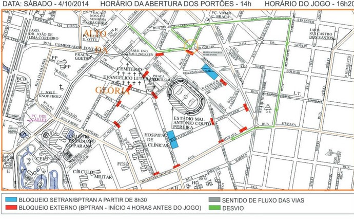 mapa atletiba segurança trânsito couto pereira (Foto: Divulgação/Prefeitura de Curitiba)