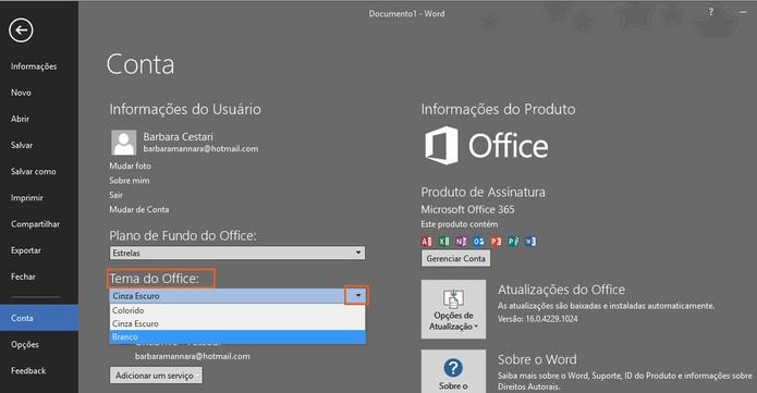Mude o tema de cores dos programas do Microsoft Office 2016 (Foto: Reprodução/Barbara Mannara)
