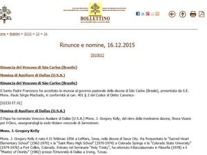 Autorização foi publicada pelo Vaticano nesta quarta-feira (16) (Foto: Reprodução)