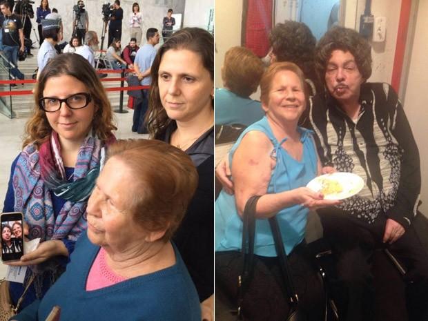 À esq., Maria Caroni com as filhas no velório de Cauby Peixoto, e, à dir., ela dando bolo na boca do cantor em show no Sesc Pompeia neste ano (Foto: G1 e Arquivo pessoal)