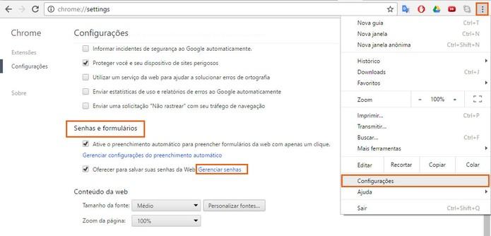 Acesse o gerenciador de senhas do Google Chrome (Foto: Reprodução/Barbara Mannara) (Foto: Acesse o gerenciador de senhas do Google Chrome (Foto: Reprodução/Barbara Mannara))