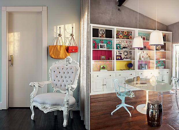 Detalhe: No canto do quarto, poltrona francesa, restaurada com acabamentos brancos. Mezanino: A estante pintada de branco possui nichos com diferentes papéis de parede. Em torno da mesa Saarinen, cadeiras Chair One (azul clara) e Giuseppina, da A Lot Of.  (Foto: Cacá Bratke)