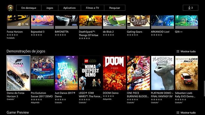 Selecione a demo do Forza Horizon 3 (Foto: Reprodução/Murilo Molina)