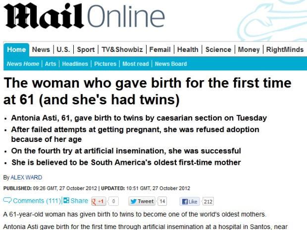 Daily Mail repercute caso da santista de 61 anos que teve gêmeos (Foto: Reprodução)