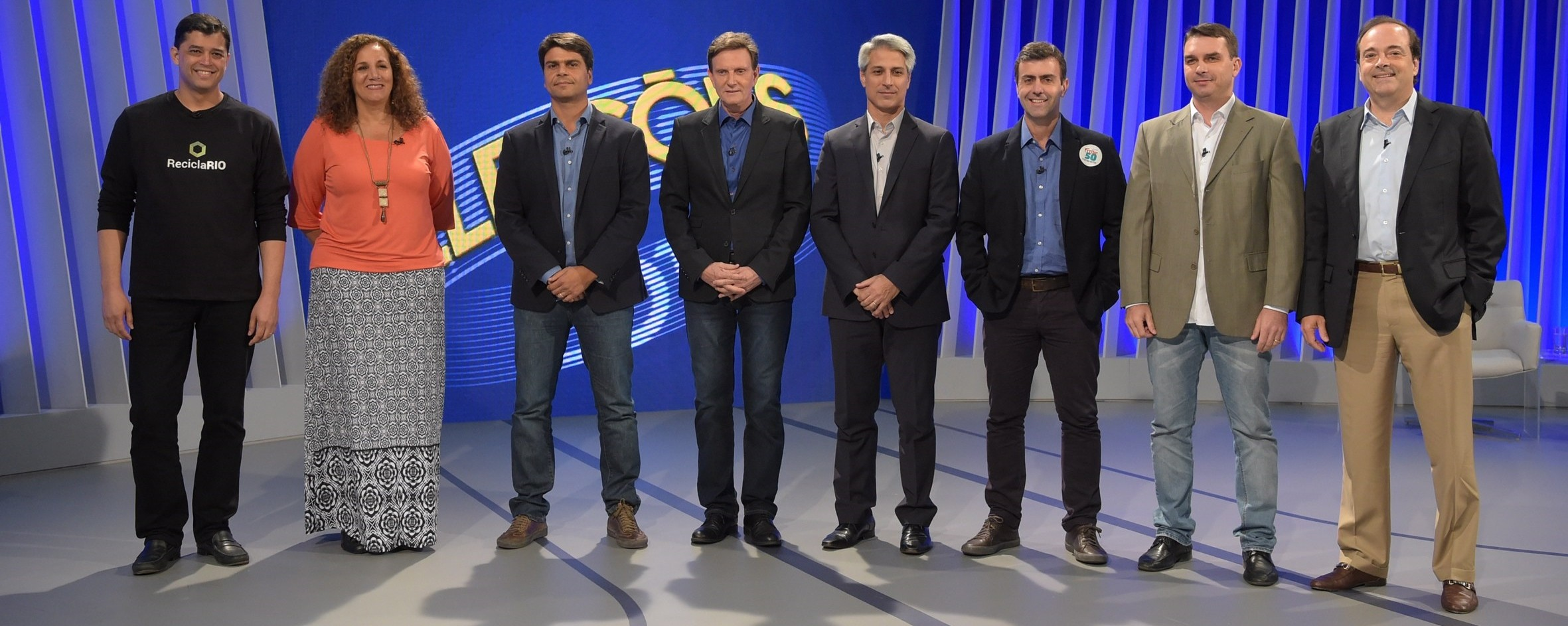 Os candidatos no debate da TV Globo