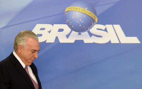 Presidente Michel Temer durante declaração à Imprensa (Foto:  EVARISTO SA/AFP)