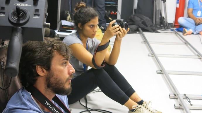 Jafar Barreiros e Lana Scott registram bastidores da gravação (Foto: TV Bahia)