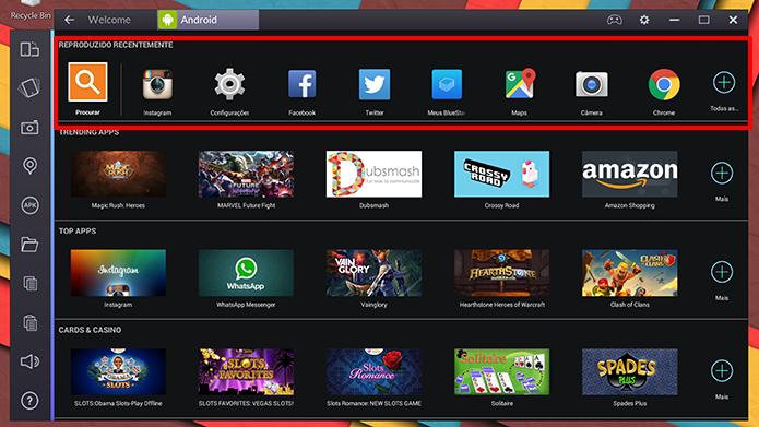 BlueStacks tem tela inicial com aplicativos do usuário no topo (Foto: Reprodução/Elson de Souza)