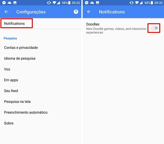 Notificações de Doodle do Google serão exibidas no Android após ativação (Foto: Reprodução/Elson de Souza)