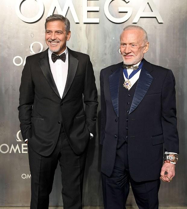 George Clooney e Buzz Aldrin (Foto: Divulgação)