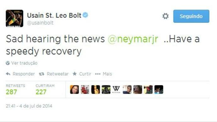 bolt lamenta lesão de neymar (Foto: Reprodução/Twitter)