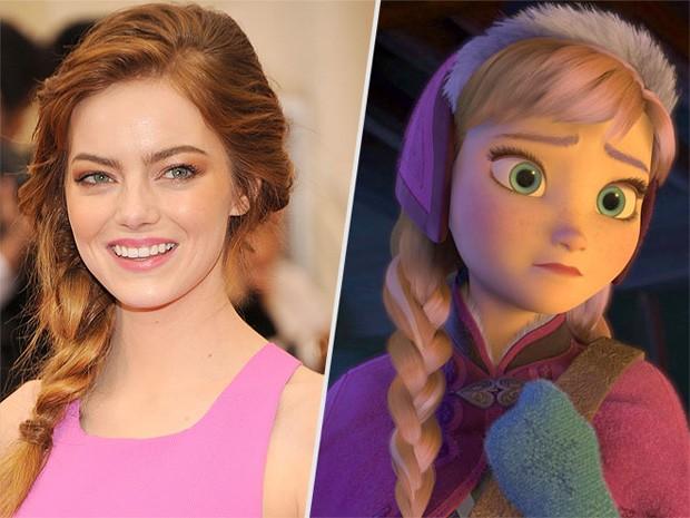 Emma Stone e Anna de 'Frozen' (Foto: Reprodução/People)